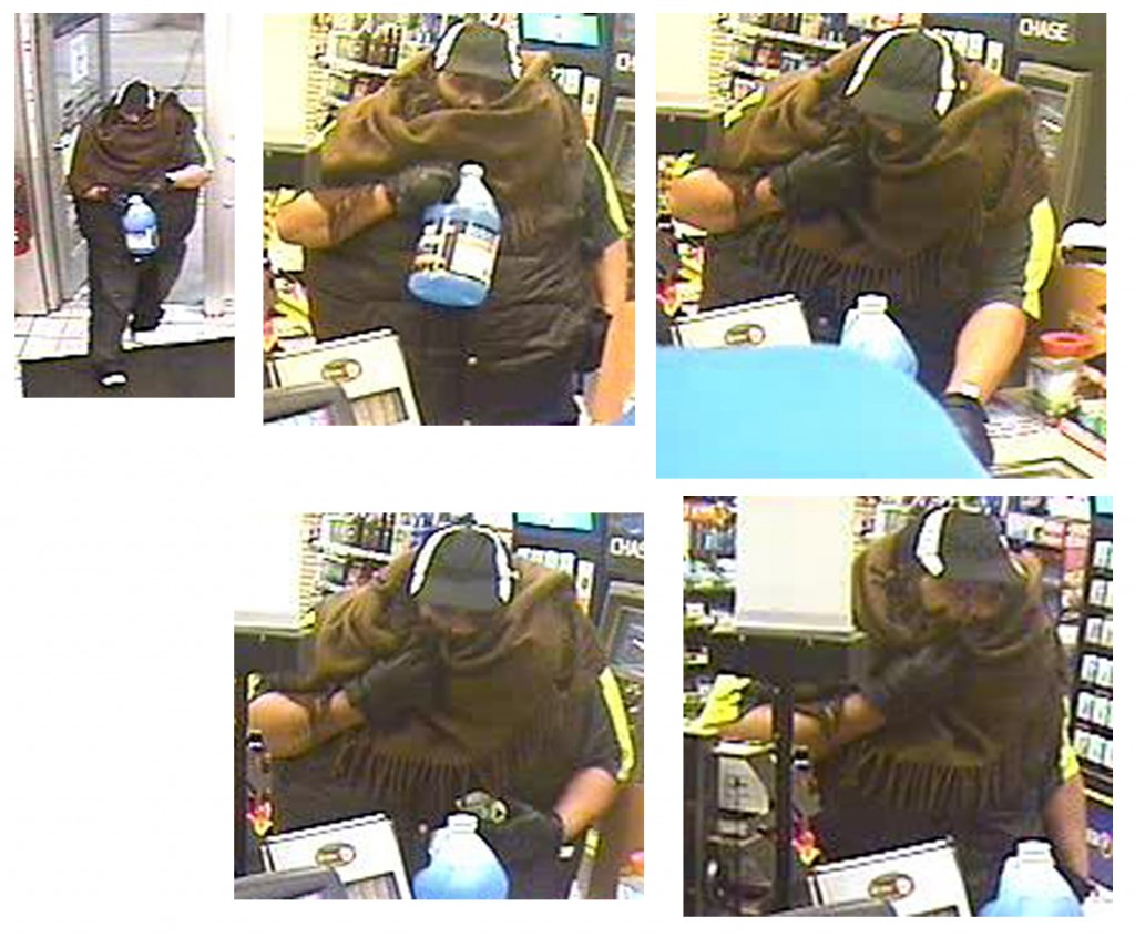 Surveillance cameras captured this image of a man who robbed a Speedway gas station on Michigan Road on the morning of Jan. 5. (Submitted photos)