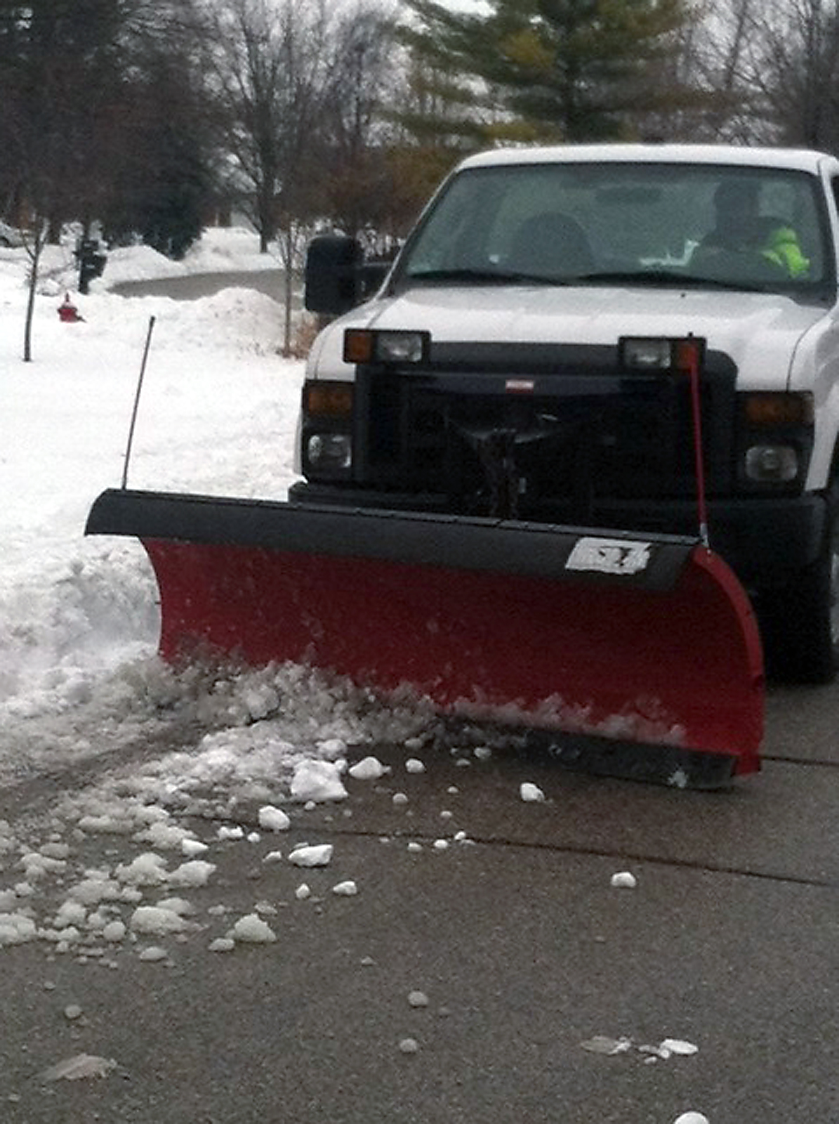 A Westfield plow clears a residential street. Plows went through neighborhoods three times to clear snow, ice and slush from the winter storm on Jan. 6 through 8. (Submitted photo)