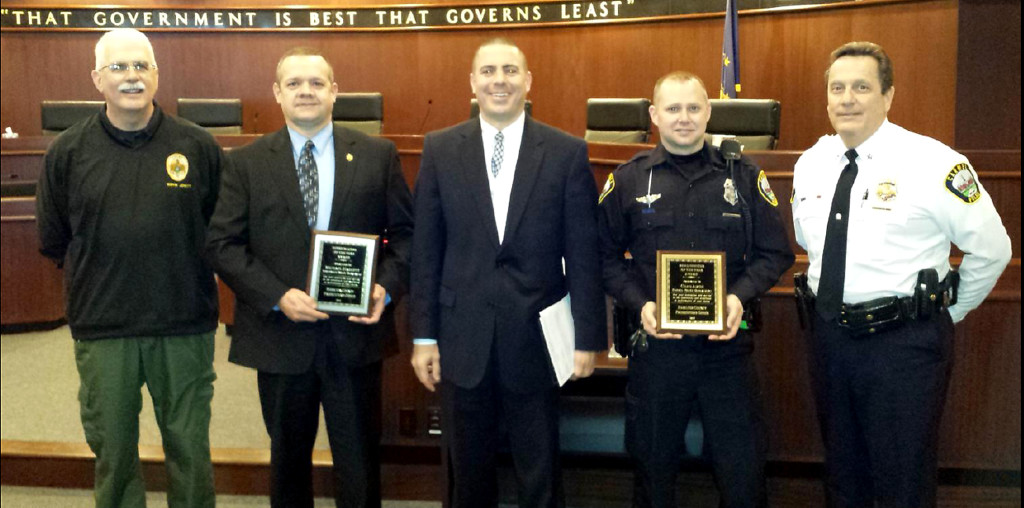 From left: Noblesville Police Chief Kevin Jowitt, Noblesville Det. Michael Haskett, Hamilton County Prosecuting Attorney D. Lee Buckingham, II; Carmel Patrolman Chad Amos and Carmel Police Timothy Green. (Submitted photo)