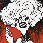 "The iconic caricature of Carol Channing on the ""Hello, Dolly!"" show poster."