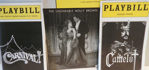 """The original playbills from hit '60s musicals """"Carnival,"""" """"The Unsinkable Molly Brown"""" and """"Camelot."""""""