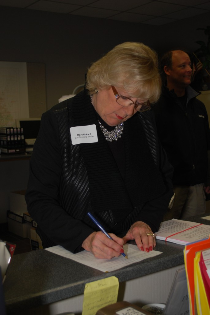 Clay Township Board member Mary Eckard files to run for office at the County Courthouse. (Staff photo)