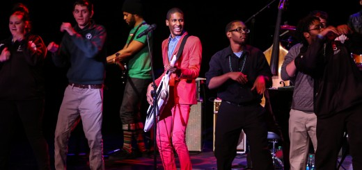 Jon Batiste, center, invited students from the Firestone FrontRow program that attend Shortridge High School and Indiana University-Bloomington to join him on stage. (Submitted photo)
