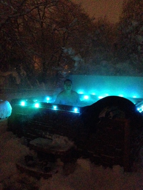 Here's how Carmel resident Jamie Gish was able to withstand the elements - in a hot tub.