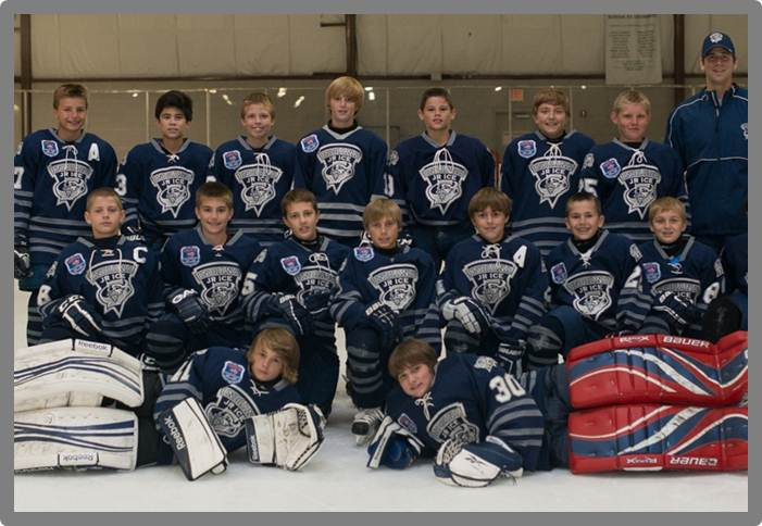 The Junior Ice are, top row from left, CJ Smith, Jack Burnell, Nick Bear, Ryan Morris, Kam Etchison, Will Pippen, Gavin Fritch and  Head Coach Eric Olimb; middle row from left, Jack Hillman, Nick George, Teddy George, Kyle Kleva, Sam Bedich, Matt Lapel and Griffen Fisher; and bottom row from left, Nathan Tripp and Nathan Chinni. (Submitted photo)