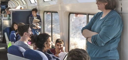 University High School's Literature of the American Landscape group having class on the train during J-Term. (Submitted photo)