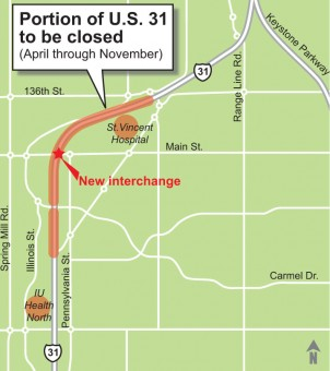 Carmel Drive remains open and allows people to cross U.S> 31. And the intersection of U.S. 31 with Old Meridian/136th St. also remains open. And detour routes along Illinois Street to the west and Pennsylvania Street to the east make avoiding the construction zone and traffic fairly painless.