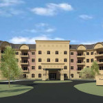 The developer plans to break ground on the Woodland Terrace senior apartments in May. (Submitted rendering)