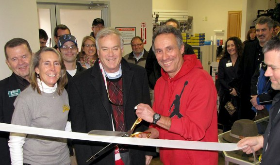 Westfield's Mayor Andy Cook and Tim and Faith Tomich open Tim's Shooting Academy with a ribbon-cutting ceremony Jan. 17. (Submitted photo)