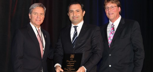 Ersal Ozdemir, the owner of Keystone Realty Group which built Carmel's Sophia Square, received a President's Award from the Indiana Soccer Association on Feb. 8 at a ceremony at the Renaissance North Hotel in Carmel. (Submitted photo by Colin Renk)