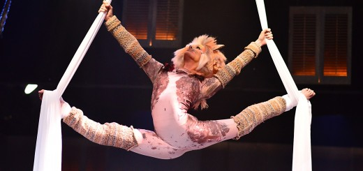 "During the celebration of the Jellicle Ball, Jellylorum (Carmel High School graduate Kristen Noonan) plays on the silks overhead in Beef & Boards Dinner Theatre's production of Andrew Lloyd Webber's seven-time Tony Award-winning ""Cats."" (Submitted photo)"