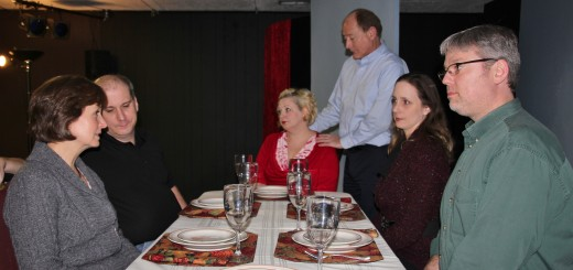 "A family helps its aging mother through Thanksgiving dinner in a scene from ""The Dining Room."" From left, actors Barb Weaver, Ryan Shelton, Sonja Distefano, Mark Tumey, Tonya Fenimore and Daniel Shock (submitted photo)"