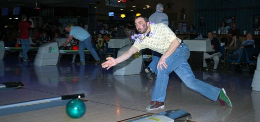 Ira Goldfarb of the City of Noblesville Stormwater Dept. bowls.