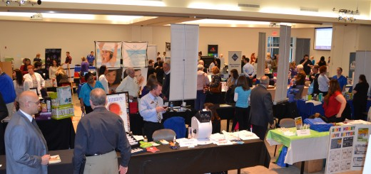 Fishers Chamber Health Wellness Fitness Fair attendees check out displays at the Forum Conference Center