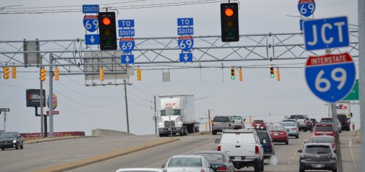 Traffic lights on 96th at I-69 that are part of a DriveFishers project (Photo by John Cinnamon)