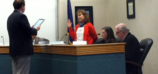 Amy Pictor takes the oath of office during the Westfield Washington School Board meeting on March 11. (Photo by Lauren Olsen)