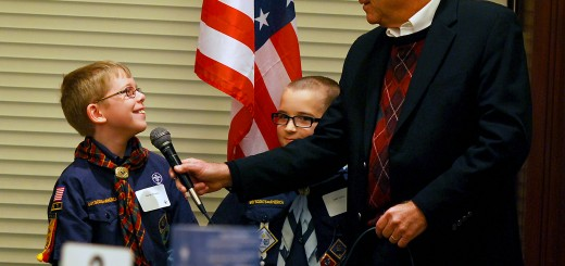 Westfield Mayor Andy Cook, right, interview Cub Scouts Garret Mowry, left, and Kade Cooley about their experiences.