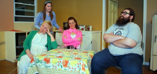"From left: Diann Ryan (Clara), Becca Wenning (Ruth), Kelly BeDell (Beverly) and Stefan U.G. LeBlanc (Jimmy) play the dysfunctional but loving Nowak family in ""Miracle on South Division Street."""