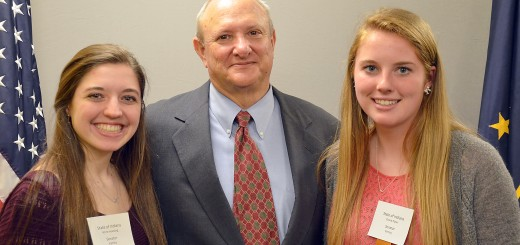 State Sen. Luke Kenley (R-Noblesville) with Anne Huesing, left, and Grace Piper of Westfield High School.