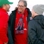 Indy Eleven President/GM Peter Wilt talks with guests at the club's first local exhibition game.