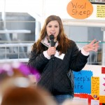 Ten-year 4-H'er Samantha Boram discusses the byproducts of sheep to students.