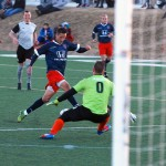 Tourbeau goalkeeper Vignir Johannesson positions himself to prevent a shot from Indy Eleven forward Pedro Mendes, who scored both of the team's goals in the 2-0 win.