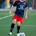 Indy Eleven defender Chris Estridge of Brownsburg controls the ball in Tourbeau territory and looks to set the offensive attack.