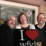 Three WFYI radio personalities were Ice Miller Wine Fest Masters of Ceremony. From left, Matthew Socey, Sharon Gamble and Travis DiNicola. (Staff photo by Tonya Burton)