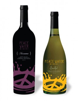An artist's rendering of Peace Water Winery's wine bottles.