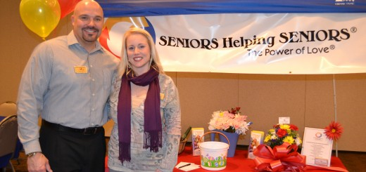 Brad and Christina James, owners of Seniors Help- ing Seniors, at a ribbon cutting for their business