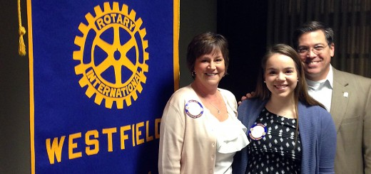 Westfield Rotary Club's first outbound Youth Exchange Student Rachel Zaiger, and her parents, Gaynelle and Brian Zaiger, at a recent Tuesday morning meeting. (Photo by Jim Dahl)