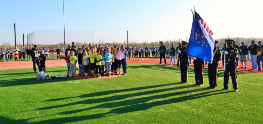 The Westfield Police Dept.'s Honor Guard presented the colors and the Oak Trace Elementary fourth-grade choir with their instructor Jennifer Paul and Principal Robin Lynch perform the National Anthem.