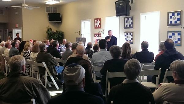 Carmel Mayor Jim Brainard addressed the crowd at Prairie View Golf Club on April 16.