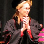 "Actress Meryl Streep listens to ""Greetings from the Campus"" remarks"