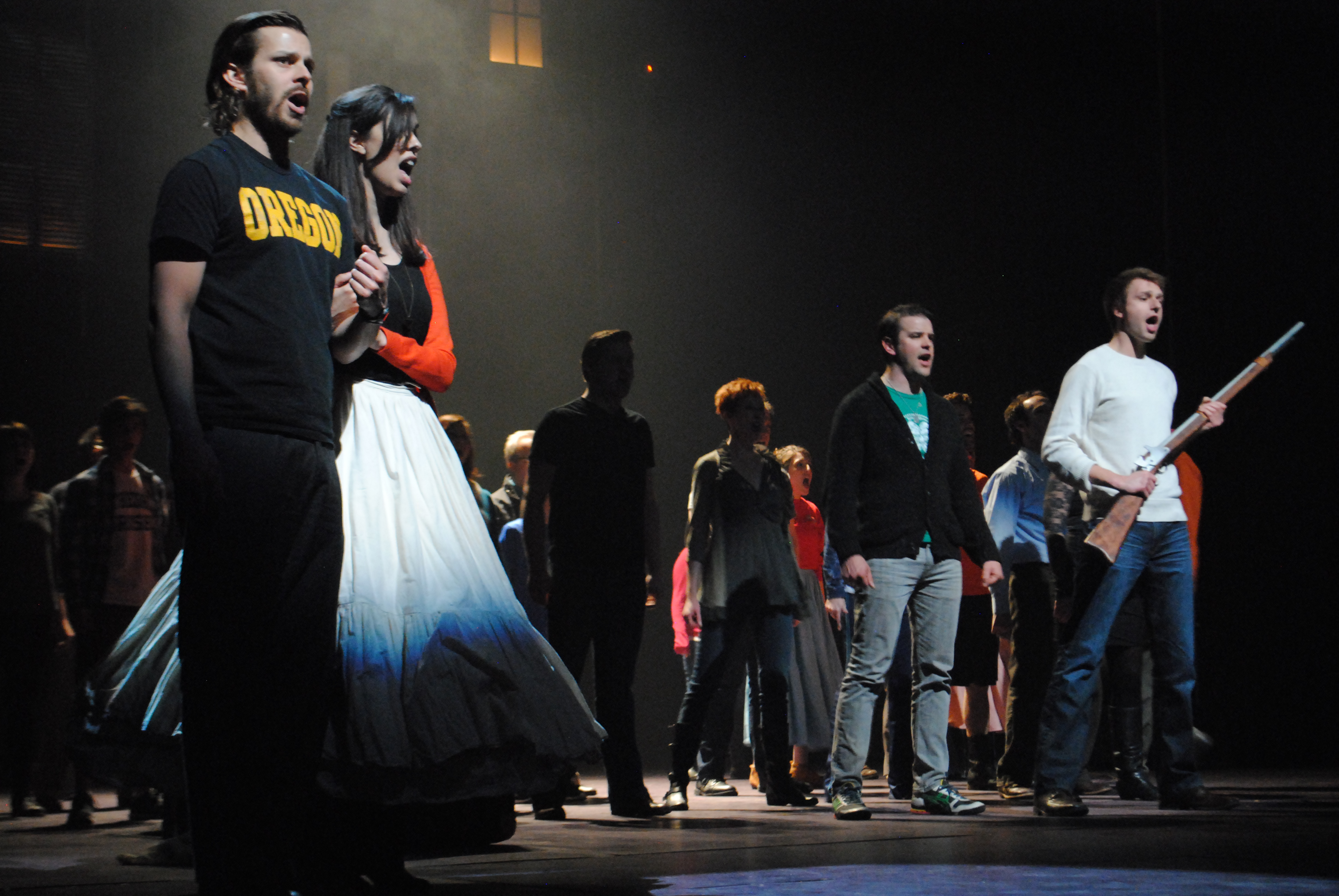 "Civic Theatre actors rehearse for their performance of ""Les Miserables."" (Staff photo)"