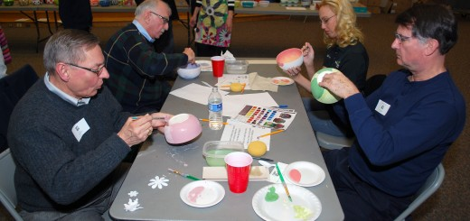 From left: City Council President Jim Ake, Westfield Washington Schools Supt. Dr. Mark Keen, City Councilor Cindy Spoljaric and Jerry Rosenberger of Open Doors paint their projects.
