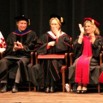 Actress Meryl Streep, center, listens to President Michael McRobbie's closing remarks after she received her honorary diploma. From left to right, University Grand Marshall, Mikel G. Tiller; Director of the IU Cinema, Jon Vickers; Streep; Vice Chair, MaryEllen K. Bishop; and Chair of the Board, Thomas E. Reilly, Jr. (Staff photo by Anelena Ackerly)