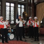 The Brass Bottom Dixieland Band performed during the early part of