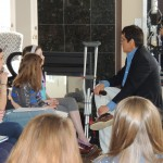 Celebrity vocal coach Ron Browning actively listens to students'