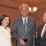 Liz Brainard and Mayor Jim Brainard welcome Aki Yamamoto, center,