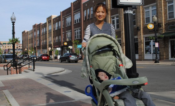 Carmel residents Dithareth Rozenberg and her son, Eli, enjoy strolling on the Monon Trail in downtown Carmel. (Staff photo)