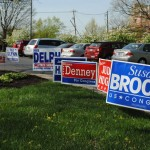 Political signs often marked voting stations throughout Carmel on May 6. (Staff photo)