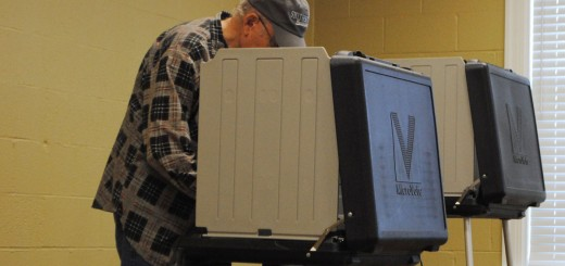 A voter fills out a ballot at Carmel United Methodist Church on May 6. (Staff photo)