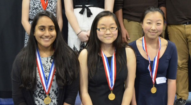 """From left, Carmel High School students Bhavi Sarda, Evelyn Shi and Jenny Zhao won first place  for their documentary """"Success Comes with a Price: Rights and Responsibilities in China's One-Child Policy"""" that they submitted to the National History Day in Indiana state contest. (Submitted photo)"""