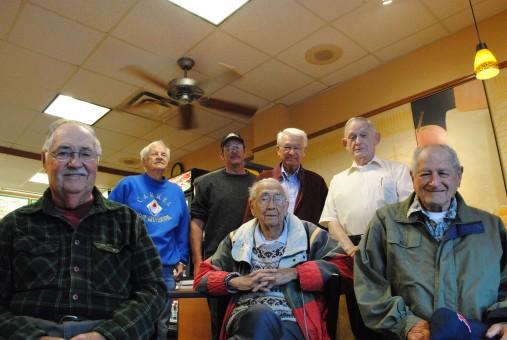 From left, Ken Wilson, Jim Palecek, Hank Starkey, Cal Field, Garry Eckard, John Woods and Myron Frank were the final members of the Kiwanis Club of Carmel Clay. (Staff photo)
