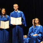 Eli Carlson, right, and Jessica Lecher, middle, will attend the U.S. Naval Academy in Annapolis. (Staff photo)