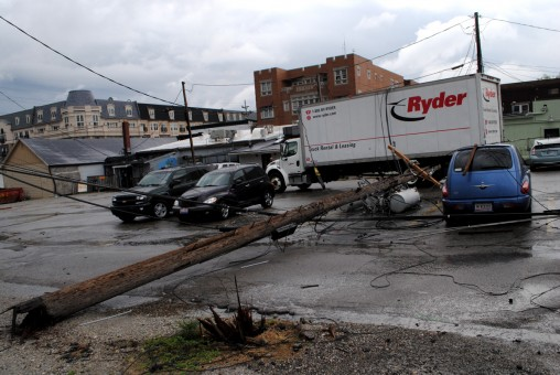A rental truck that was delivering plants to a store on Range Line Road struck some low-hanging electrical wires causing an outage to the 100 block of West Main Street. (Staff photo)