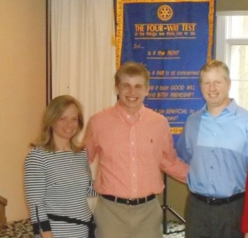 Matthew Klineman, center, received the William D. McFadden Student Service Award from the Rotary Club of Carmel. (Submitted photo)