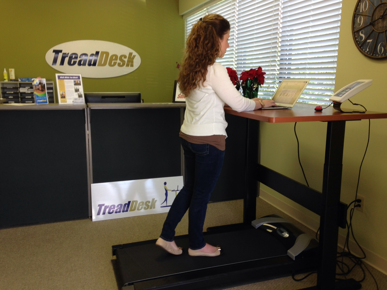 Jamie Ruff, marketing manager for TreadDesk demonstrates its use. (Submitted photo)
