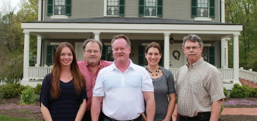 Historic Ambassador House is celebrat- ing five years since restoration and opening to the public. From left: Kim Jones, Ron Williams, Jeff Wilson, Beth Clark and Pete Feeney. (Photo by Jessica Goldy)